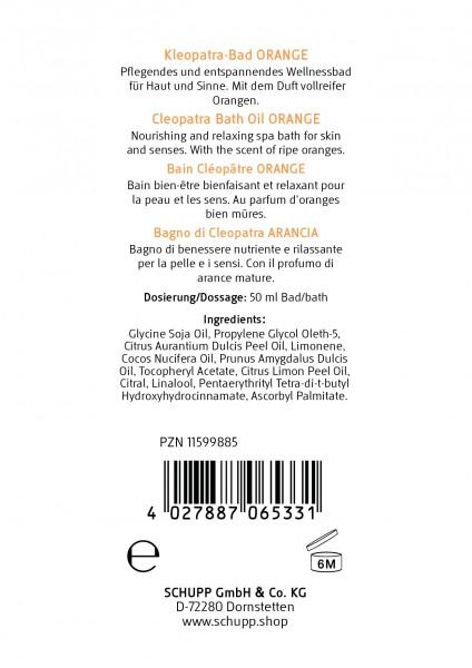 Kleopatra-Bad Orange - Auslobung und Inhaltsstoffe
